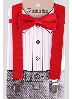 E&H Erkek Çocuk Pantolon Askısı Papyonlu Kırmızı (1-10 Yaş)